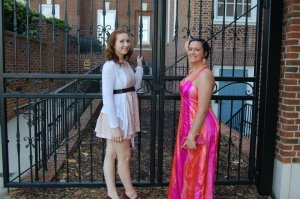 This is me and my best friend taking pictures before my senior prom. I sewed my own dress. It's at this point I started to get noticeably heavier.